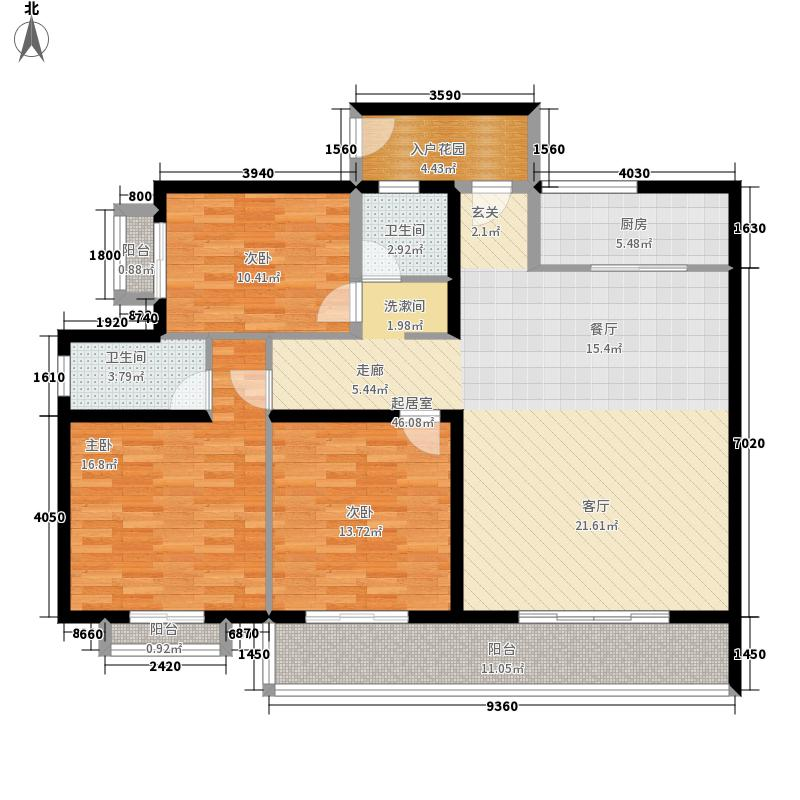 海秀花园130.00㎡A户型3室2厅