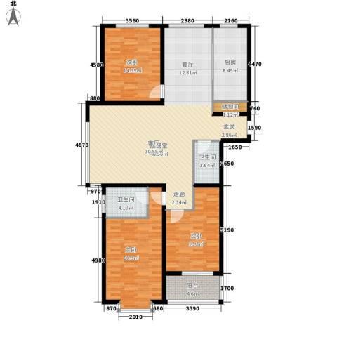 北城山水3室0厅2卫1厨164.00㎡户型图