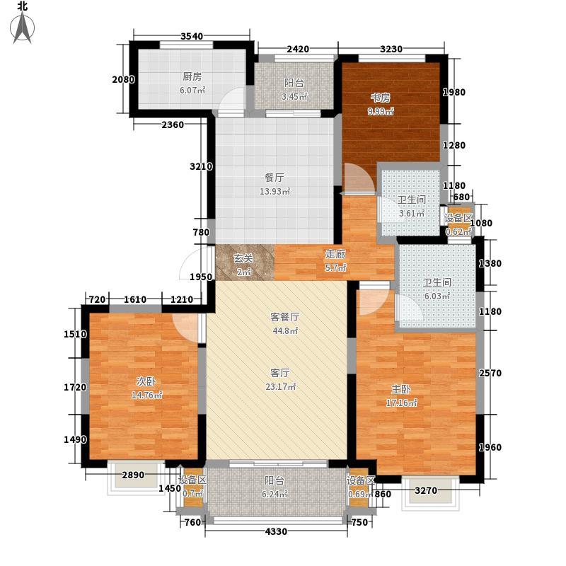 蓝山湾二期荣域130.10㎡E1户型3室2厅2卫