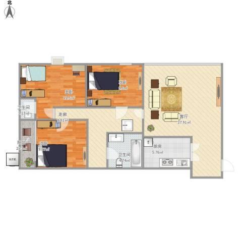 花好月圆3室1厅2卫1厨112.00㎡户型图