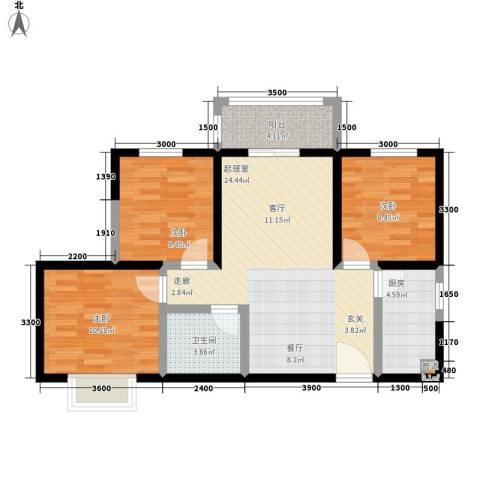 昆明时光3室0厅1卫1厨95.00㎡户型图
