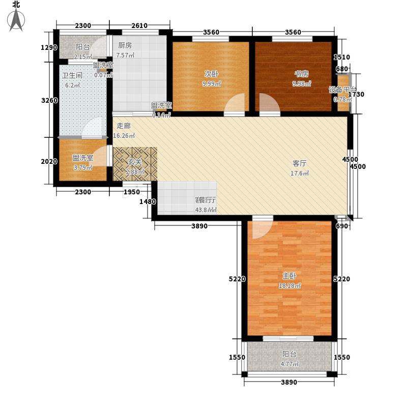 昆泉·天籁村119.06㎡标准层户型3室2厅