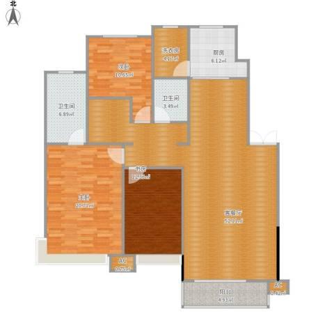 棠棣小区3室1厅2卫1厨165.00㎡户型图