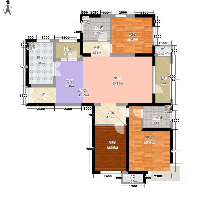 海景文苑145.00㎡高层2#、3#、4#标准层B3户型3室2厅