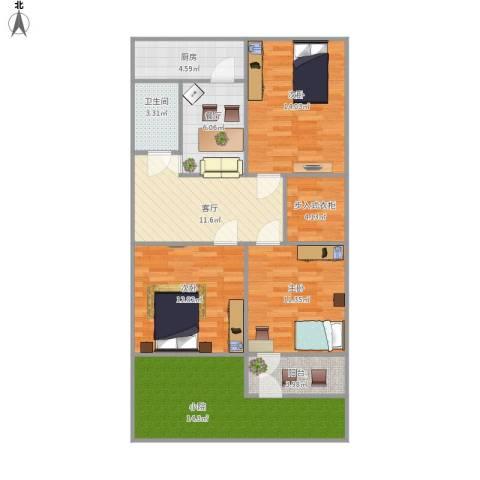 玉函路单位宿舍3室2厅1卫1厨117.00㎡户型图