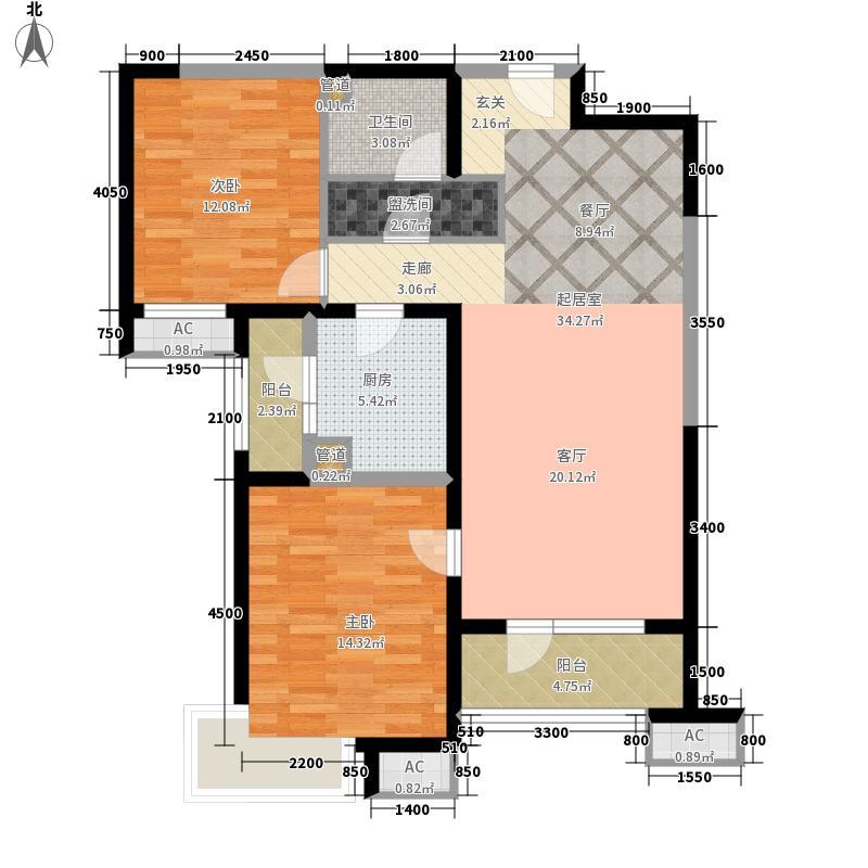 海景文苑115.00㎡高层2#、3#、4#标准层B2户型2室2厅