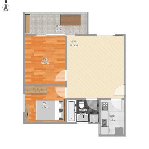 汉城湖畔2室1厅1卫1厨67.00㎡户型图