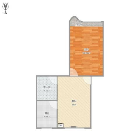 杨家镇1室1厅1卫1厨56.00㎡户型图