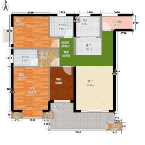 晋愉绿岛翡冷翠3室1厅2卫1厨107.00㎡户型图