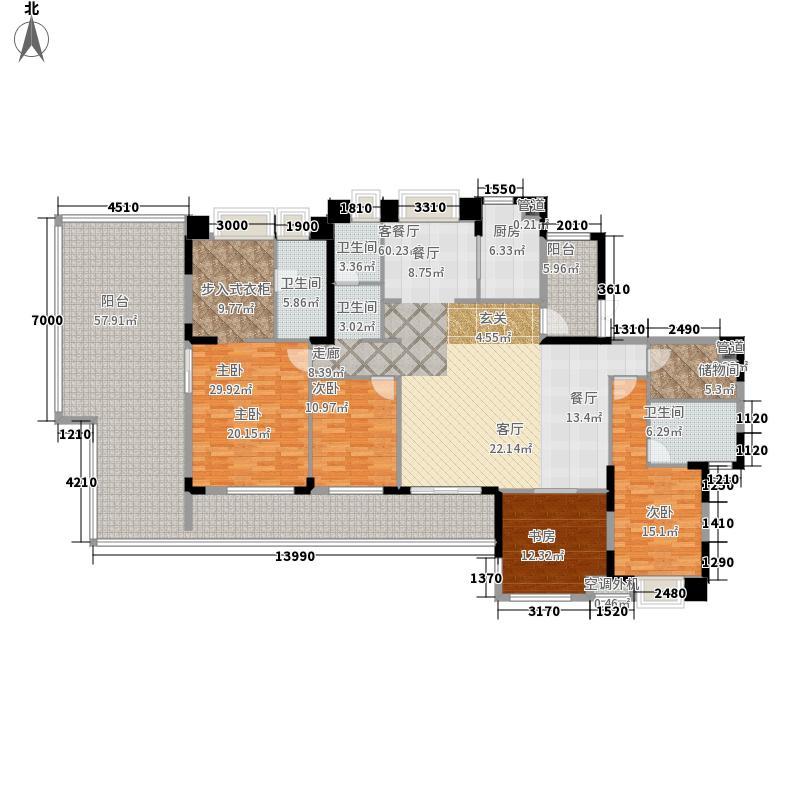 华润橡树湾218.00㎡18#20F03单元4室户型