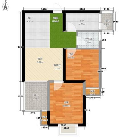 缤纷时代2室1厅1卫1厨63.79㎡户型图