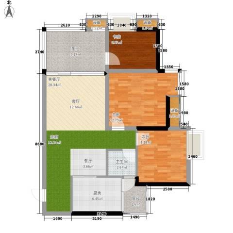缤纷时代3室1厅1卫1厨92.27㎡户型图