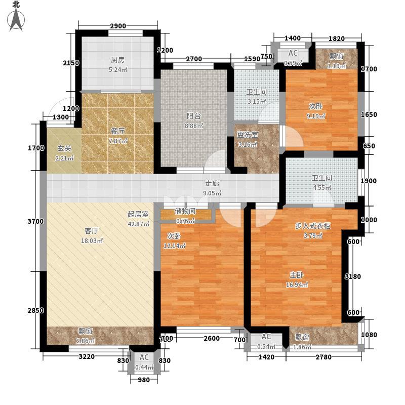 华润橡树湾139.00㎡高层E3户型3室2厅