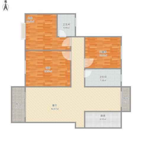 世纪佳苑3室1厅2卫1厨155.00㎡户型图