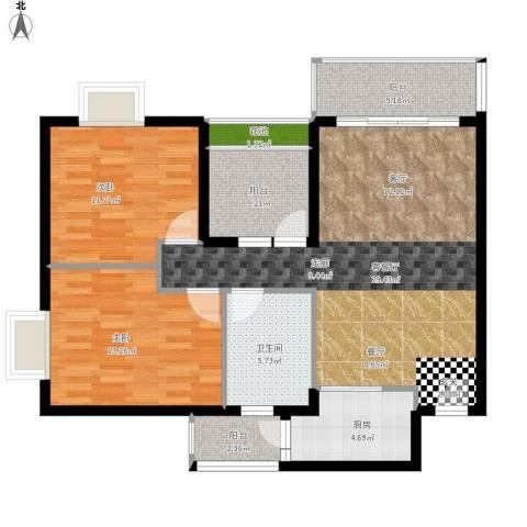 锦龙又一城2室1厅1卫1厨112.00㎡户型图
