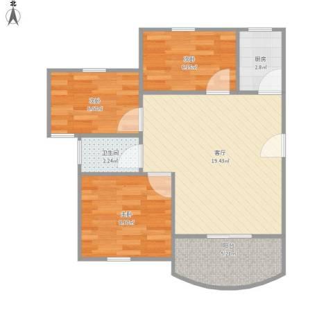 天馨花园八――十二期3室1厅1卫1厨68.00㎡户型图