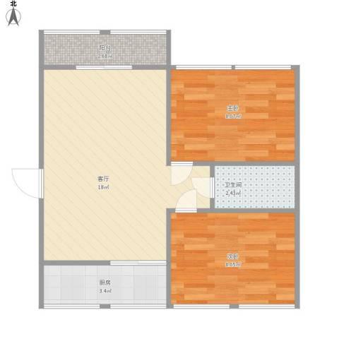 逸东花园2室1厅1卫1厨58.00㎡户型图