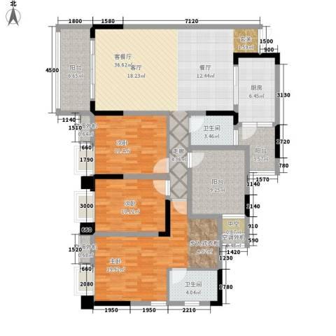 鸥鹏泊雅湾3室1厅2卫1厨165.00㎡户型图