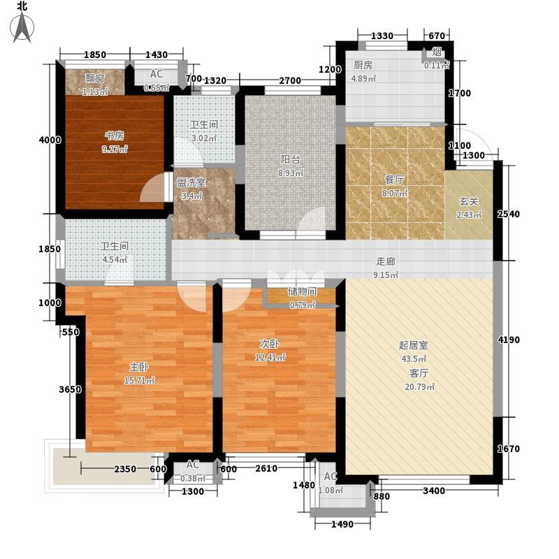 华润橡树湾139.00㎡高层E4户型3室2厅
