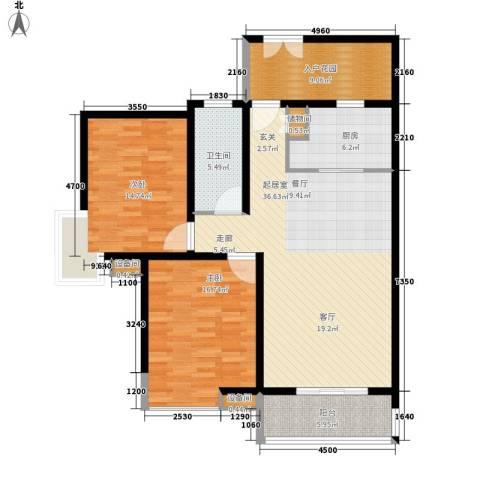 新时代富嘉花园2室0厅1卫1厨137.00㎡户型图