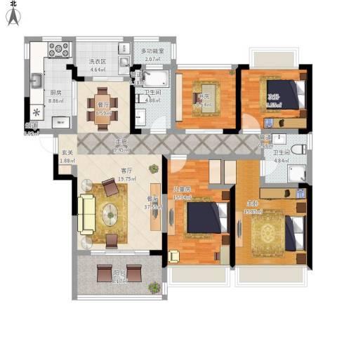 绿地华尔道名邸4室1厅2卫1厨175.00㎡户型图