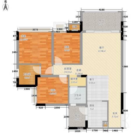 金科云湖天都3室0厅2卫1厨119.00㎡户型图
