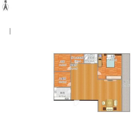 滨江公寓河畔明珠3室1厅1卫1厨212.00㎡户型图
