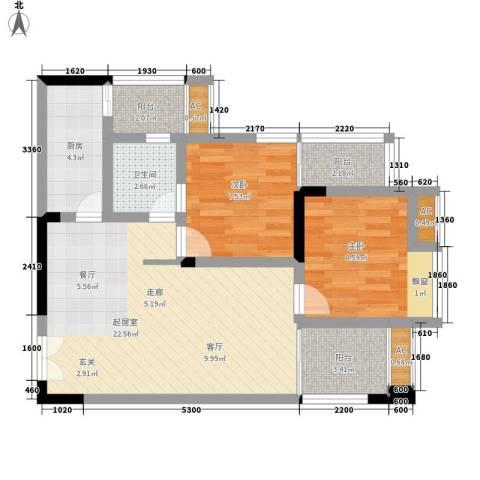 梁平戴斯国际酒店社区(B区)2室0厅1卫1厨66.00㎡户型图