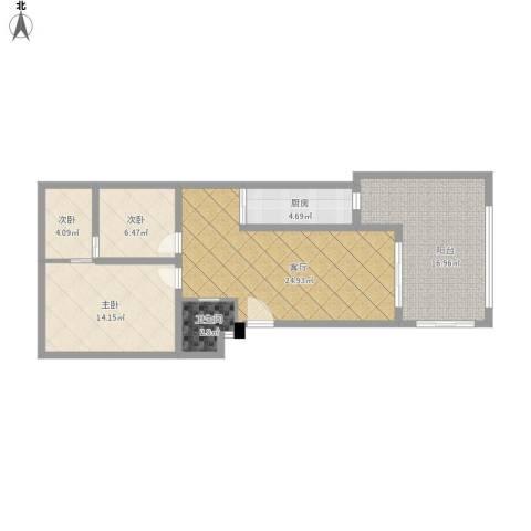 祈福新村A区3室1厅1卫1厨107.00㎡户型图