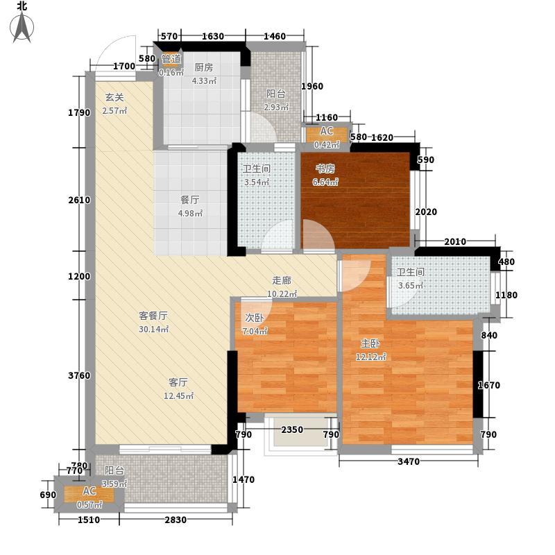 保利心语88.00㎡A-2户型3室2厅