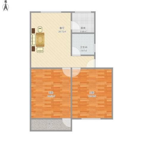 角滨路宿舍房2室1厅1卫1厨87.00㎡户型图