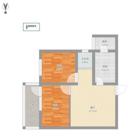 马南里小区2室1厅1卫2厨72.00㎡户型图