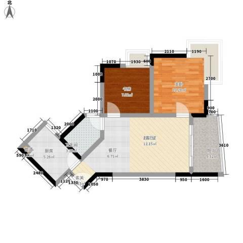 金银苑2室0厅1卫1厨58.00㎡户型图