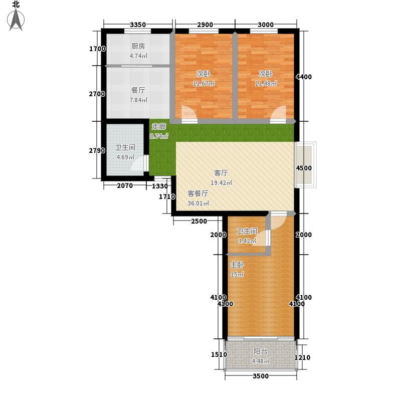 翰林雅居135.80㎡三室两厅两卫户型