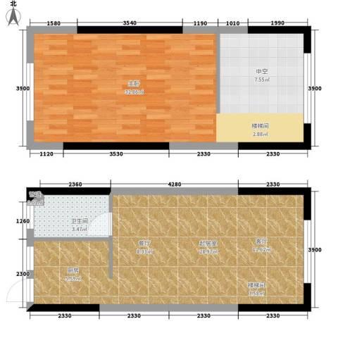 平安摩卡城1室0厅1卫0厨91.00㎡户型图