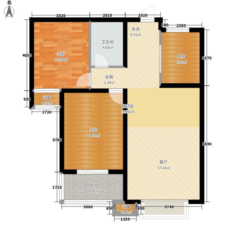 骏景豪庭91.00㎡2号楼+3户型2室2厅