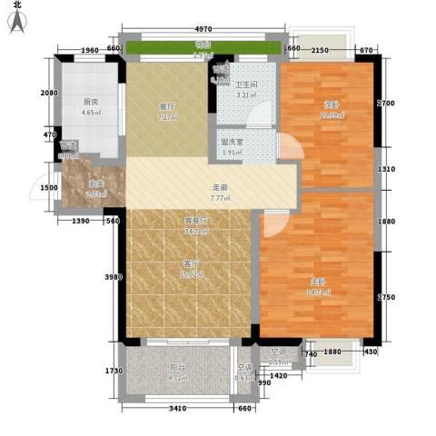 虹桥宝龙城2室1厅1卫1厨88.00㎡户型图