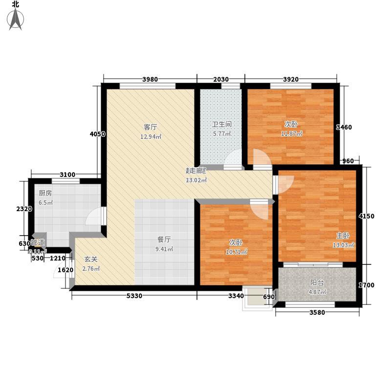 尚品燕园109.00㎡1#楼D11户型3室2厅