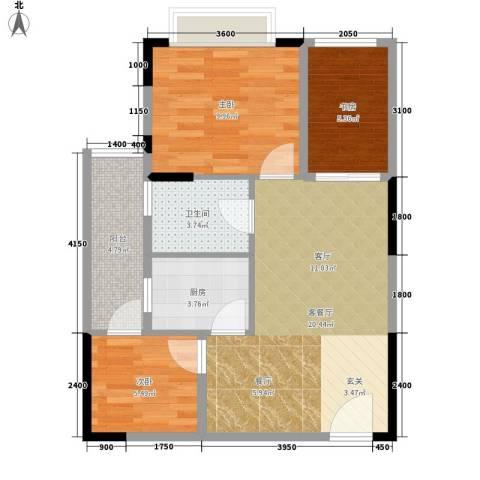 美每家美华星都3室1厅1卫1厨53.54㎡户型图