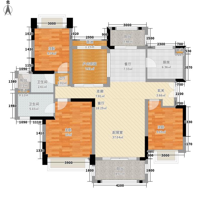 华发蔚蓝堡131.00㎡E户型3室2厅