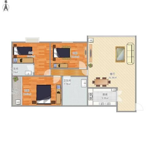 花好月圆3室1厅2卫1厨116.00㎡户型图
