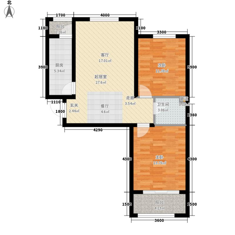 晟禾时代96.00㎡高层G2-C户型2室2厅