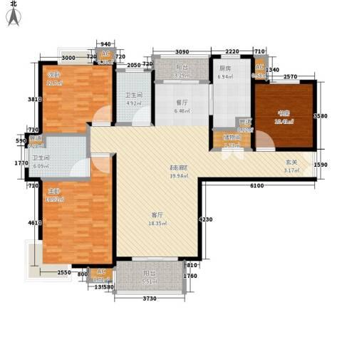 建邦16区3室0厅2卫1厨136.00㎡户型图