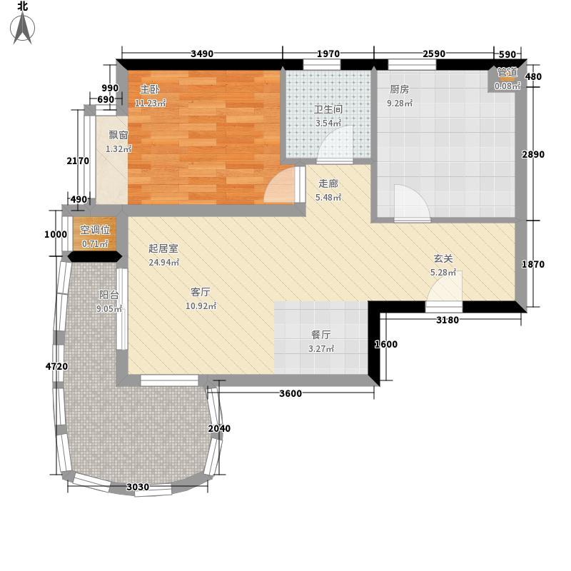 兴安家园65.96㎡D1户型1室1厅