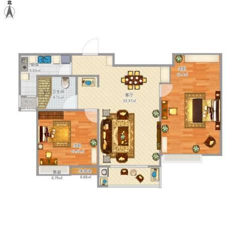 国泰・润园2室1厅1卫1厨107.00㎡户型图