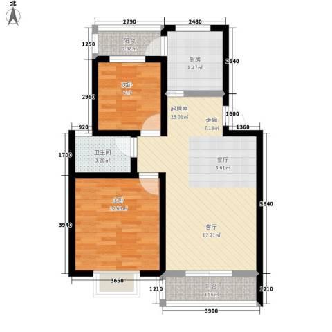 一米阳光美好家园2室0厅1卫1厨87.00㎡户型图