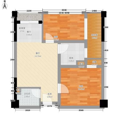 西铁领寓2室0厅1卫1厨55.00㎡户型图