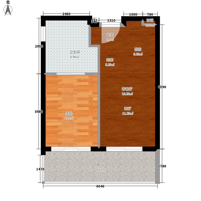湖光山舍53.00㎡D户型1室1厅