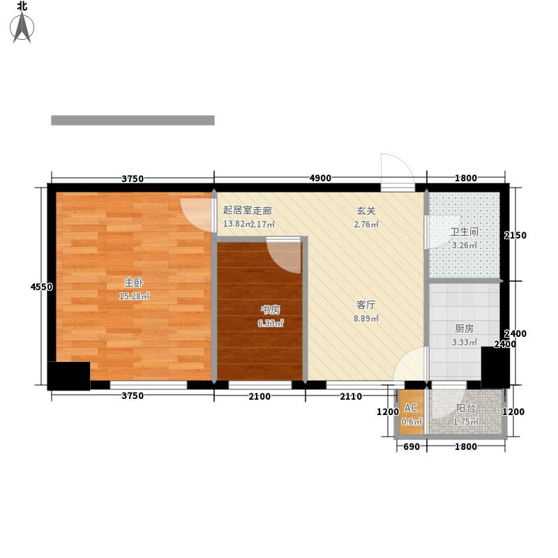 中安美寓65.41㎡小高层B户型1室1厅