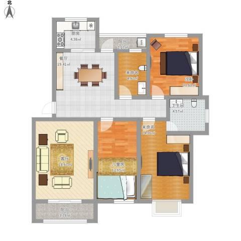 欧美世纪花园2室2厅1卫1厨141.00㎡户型图